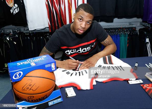Damian Lillard of the Portland Trail Blazers attends a meet and greet at Champs Sports on May 21 2013 in New York City