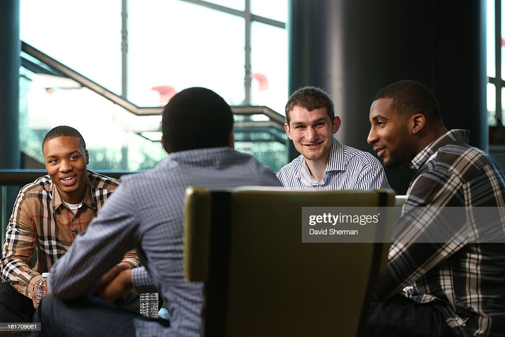 Damian Lillard #0 of the Portland Trail Blazers, Bradley Beal #3 of the Washington Wizards, Tyler Zeller #40 of the Cleveland Cavaliers, and Andre Drummond #1 of the Detroit Pistons speak during the Rookie Roundtable as part of the 2013 NBA All-Star Weekend at the Hilton Americas Hotel on February 14, 2013 in Houston, Texas.