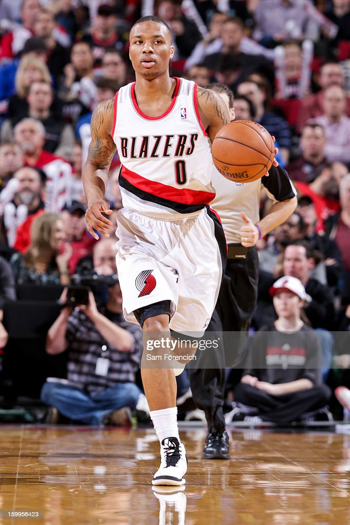 Damian Lillard #0 of the Portland Trail Blazers brings the ball up court against the Indiana Pacers on January 23, 2013 at the Rose Garden Arena in Portland, Oregon.