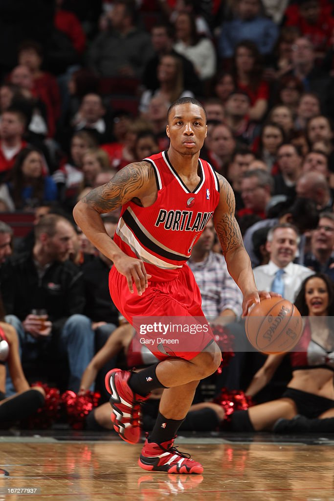 <a gi-track='captionPersonalityLinkClicked' href=/galleries/search?phrase=Damian+Lillard&family=editorial&specificpeople=6598327 ng-click='$event.stopPropagation()'>Damian Lillard</a> #0 of the Portland Trail Blazers brings the ball up court against the Chicago Bulls on March 21, 2013 at the United Center in Chicago, Illinois.