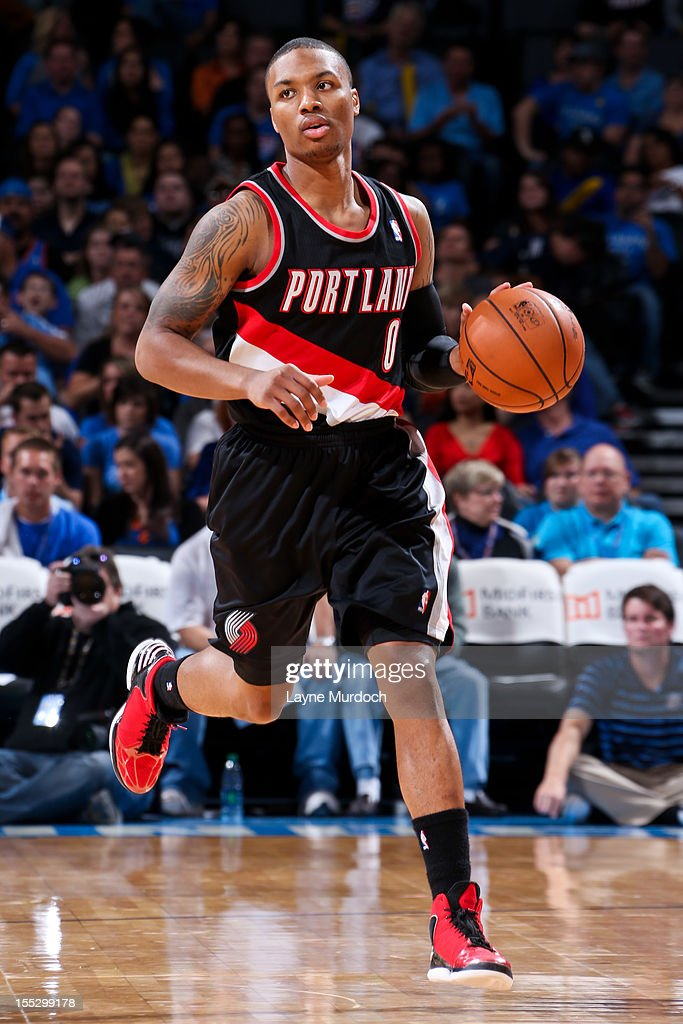 <a gi-track='captionPersonalityLinkClicked' href=/galleries/search?phrase=Damian+Lillard&family=editorial&specificpeople=6598327 ng-click='$event.stopPropagation()'>Damian Lillard</a> #0 of the Portland Trail Blazers brings the ball up-court against the Oklahoma City Thunder on November 2, 2012 at the Chesapeake Energy Arena in Oklahoma City, Oklahoma.