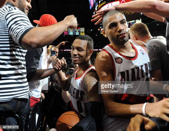 Damian Lillard of the Portland Trail Blazers celebrates after hitting the game winning shot in Game Six of the Western Conference Quarterfinals...