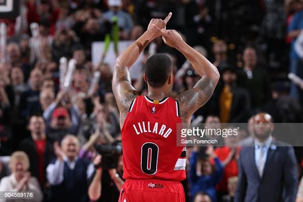Damian Lillard of the Portland Trail Blazers celebrates against the Oklahoma City Thunder on January 10 2016 at the Moda Center Arena in Portland...