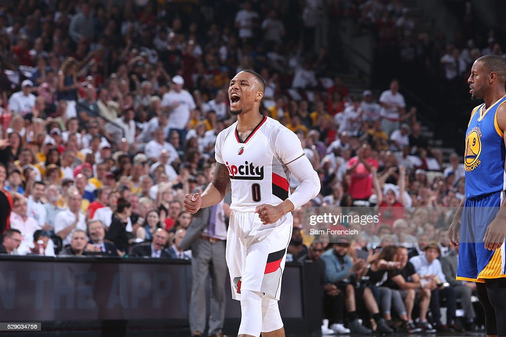 Damian Lillard of the Portland Trail Blazers celebrates during the game against the Golden State Warriors in Game Three of the Western Conference...