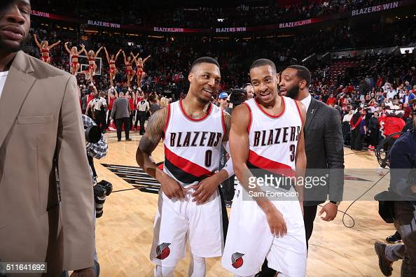 Damian Lillard of the Portland Trail Blazers celebrates with CJ McCollum after the game against the Utah Jazz n February 21 2016 at the Moda Center...
