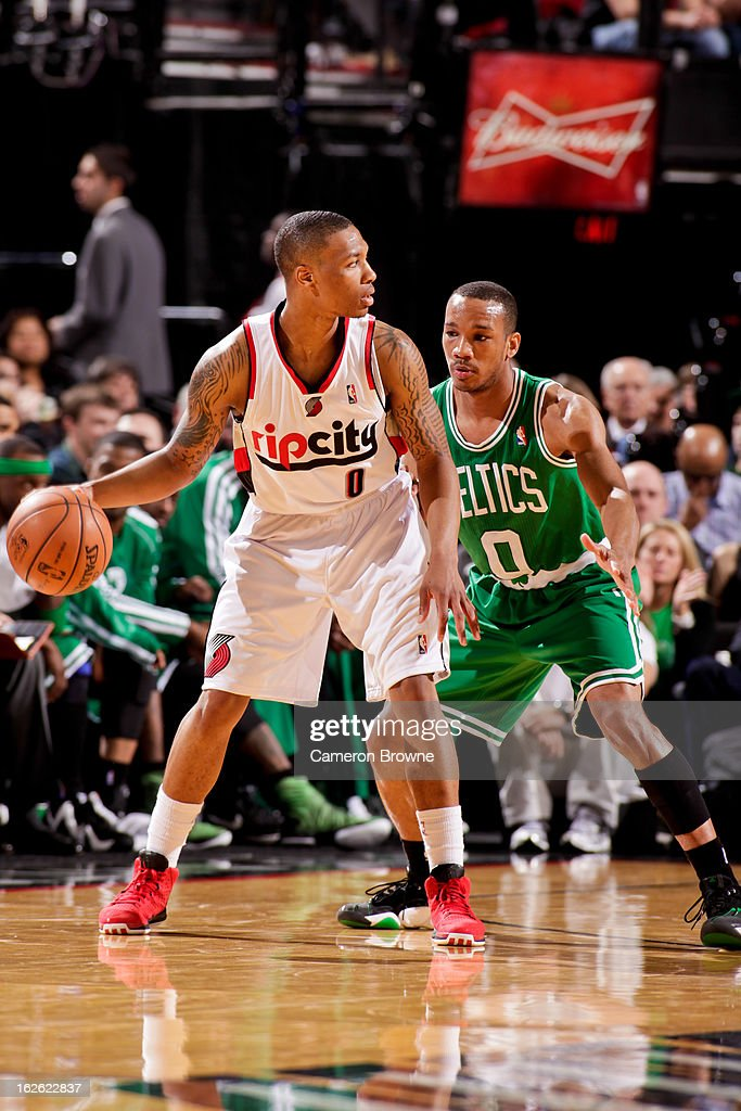 Damian Lillard #0 of the Portland Trail Blazers controls the ball against Avery Bradley #0 of the Boston Celtics on February 24, 2013 at the Rose Garden Arena in Portland, Oregon.