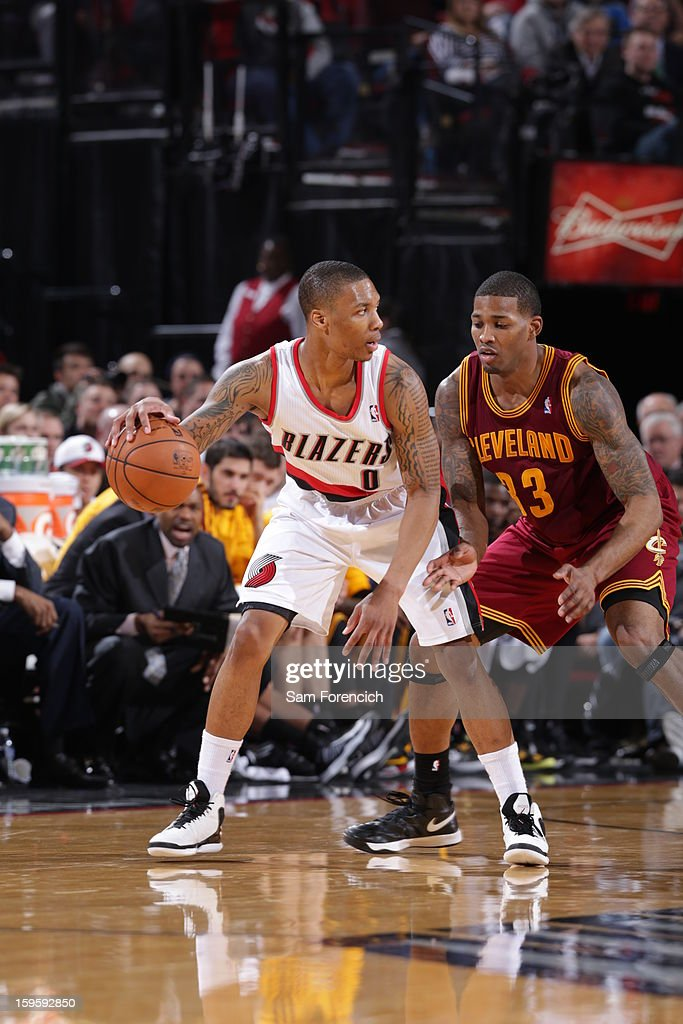 Damian Lillard #0 of the Portland Trail Blazers controls the ball against Alonzo Gee #33 of the Cleveland Cavaliers on January 16, 2013 at the Rose Garden Arena in Portland, Oregon.