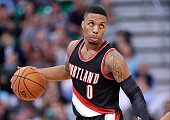 Damian Lillard of the Portland Trail Blazers controls the ball against the Utah Jazz at Vivint Smart Home Arena on November 4 2015 in Salt Lake City...