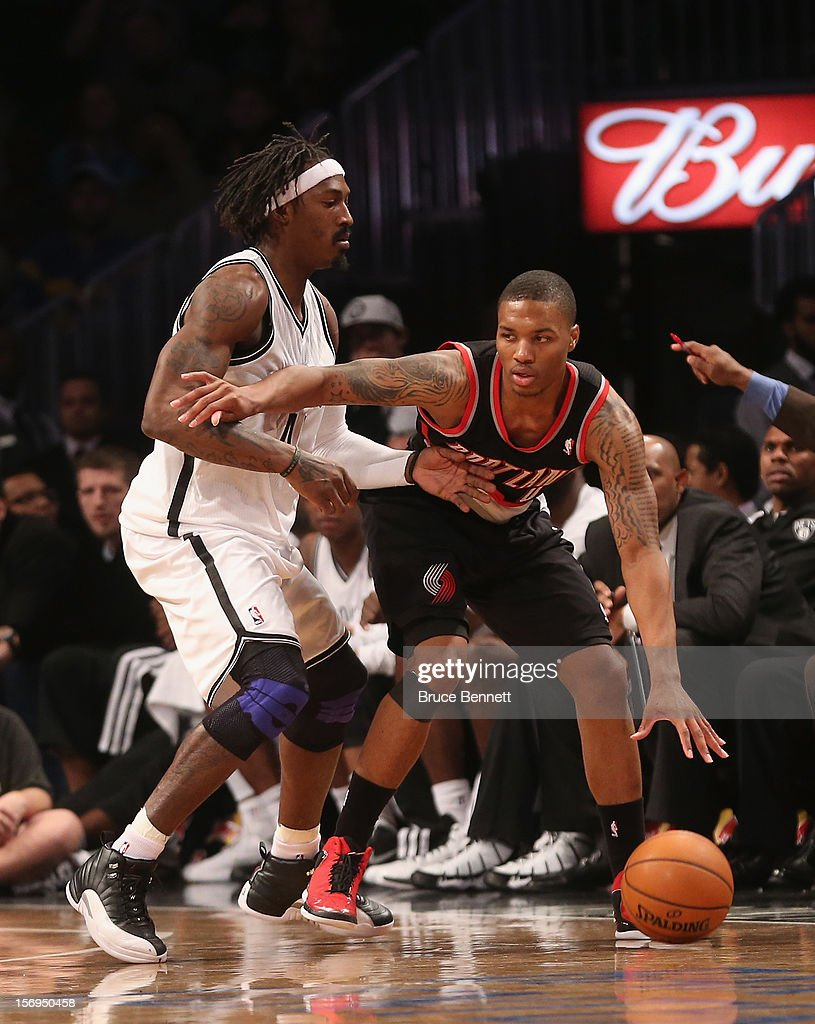 Damian Lillard #0 of the Portland Trail Blazers dribbles the ball against the Brooklyn Nets at the Barclays Center on November 25, 2012 in the Brooklyn borough of New York City.