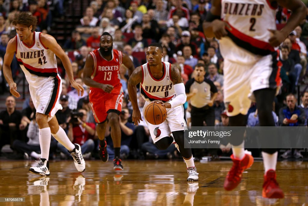 Damian Lillard of the Portland Trail Blazers dribbles the ball against the Houston Rockets on November 5 2013 at the Moda Center in Portland Oregon...