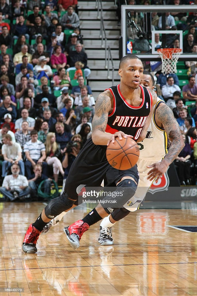 <a gi-track='captionPersonalityLinkClicked' href=/galleries/search?phrase=Damian+Lillard&family=editorial&specificpeople=6598327 ng-click='$event.stopPropagation()'>Damian Lillard</a> #0 of the Portland Trail Blazers drives against the Utah Jazz at Energy Solutions Arena on April 1, 2013 in Salt Lake City, Utah.