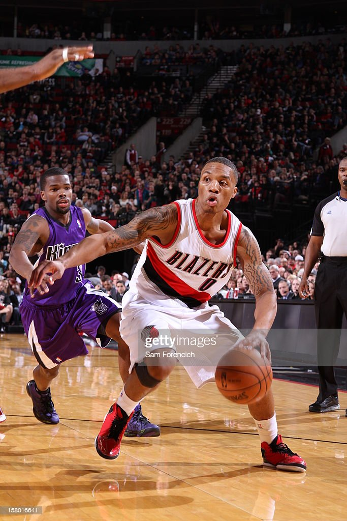 Damian Lillard #0 of the Portland Trail Blazers drives drives during the game between the Sacramento Kings and the Portland Trail Blazers on December 8, 2012 at the Rose Garden Arena in Portland, Oregon.