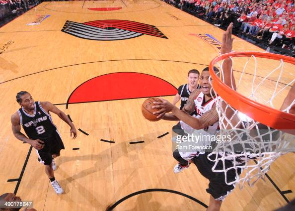 Damian Lillard of the Portland Trail Blazers drives to the basket in Game Four of the Western Conference Semifinals against the San Antonio Spurs...