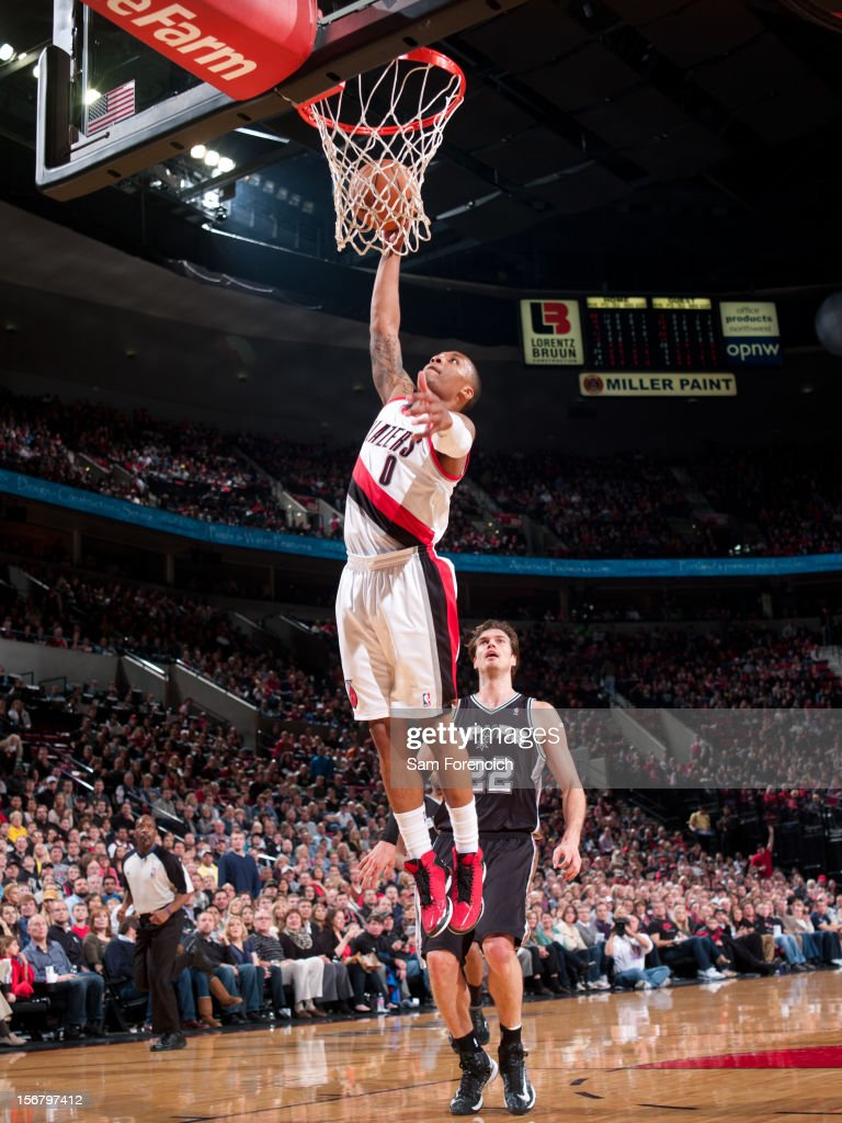 Damian Lillard #0 of the Portland Trail Blazers drives to the basket against the San Antonio Spurs on November 10, 2012 at the Rose Garden Arena in Portland, Oregon.
