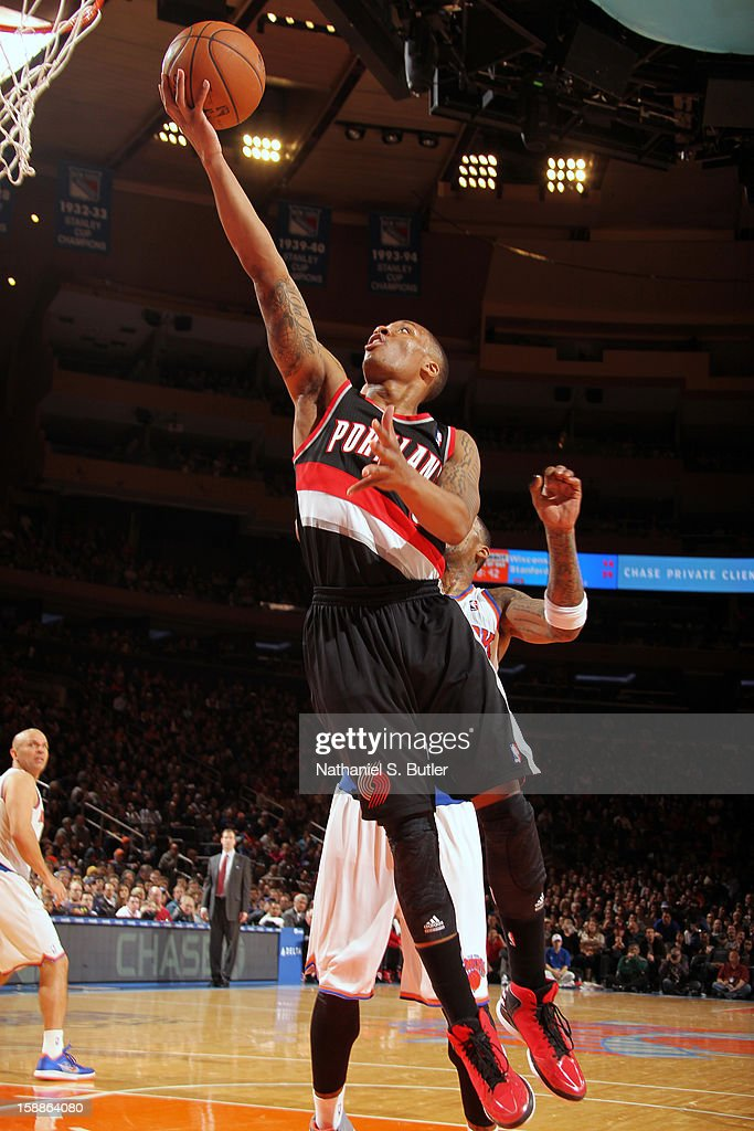 Damian Lillard #0 of the Portland Trail Blazers drives to the basket against the New York Knicks on January 1, 2013 at Madison Square Garden in New York City.