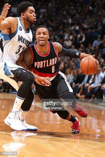 Damian Lillard of the Portland Trail Blazers drives to the basket against the Minnesota Timberwolves during the game on November 2 2015 at Target...