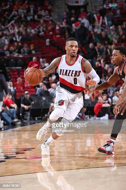 Damian Lillard of the Portland Trail Blazers drives to the basket against the Toronto Raptors on February 4 2016 at the Moda Center in Portland...
