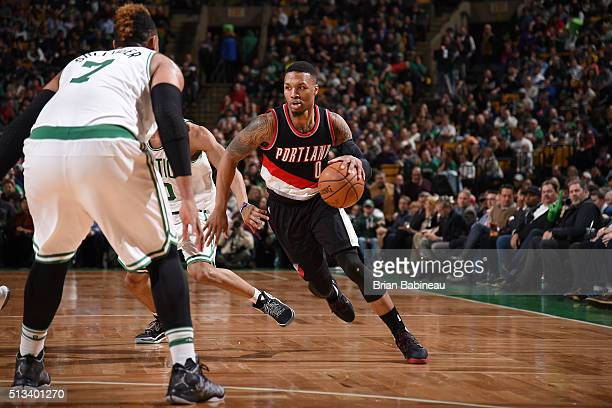 Damian Lillard of the Portland Trail Blazers drives to the basket against the Boston Celtics during the game on March 2 2016 at TD Garden in Boston...