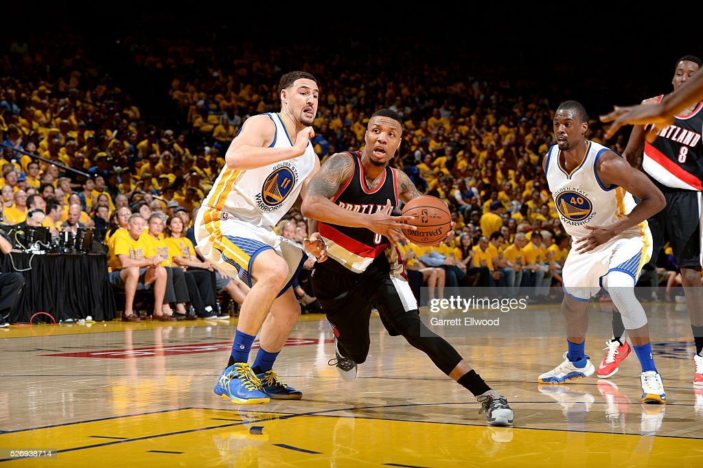 Damian Lillard #0 of the Portland Trail Blazers drives to the basket during the game against the Golden State Warriors in Game One of the Western Conference Semifinals during the 2016 NBA Playoffs on May 1, 2016 at ORACLE Arena in Oakland, California.