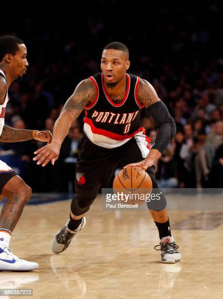 Damian Lillard of the Portland Trail Blazers drives up court in an NBA basketball game against the New York Knicks on November 22 2016 at Madison...