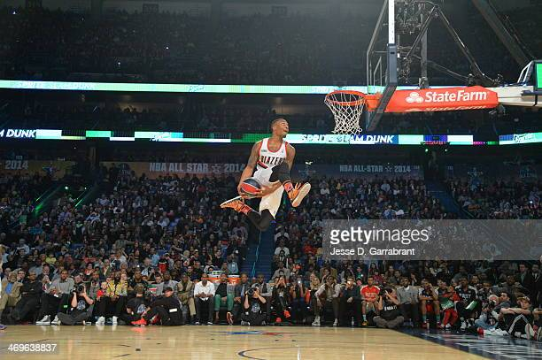 Damian Lillard of the Portland Trail Blazers dunks the ball during the Sprite Slam Dunk Contest on State Farm AllStar Saturday Night as part of the...