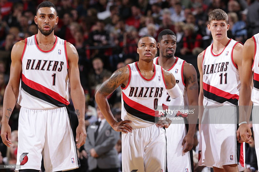 <a gi-track='captionPersonalityLinkClicked' href=/galleries/search?phrase=Damian+Lillard&family=editorial&specificpeople=6598327 ng-click='$event.stopPropagation()'>Damian Lillard</a> #0 of the Portland Trail Blazers during the game against the Los Angeles Clippers on November 8, 2012 at the Rose Garden Arena in Portland, Oregon.