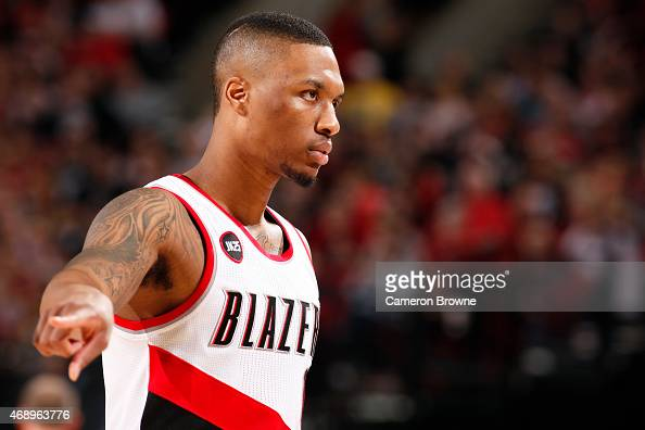 Damian Lillard of the Portland Trail Blazers during the game against the Minnesota Timberwolves on April 8 2015 at the Moda Center Arena in Portland...