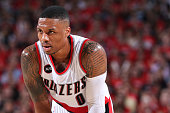 Damian Lillard of the Portland Trail Blazers during the game against the Memphis Grizzlies in Game Four of the Western Conference Quarterfinals...