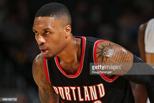 Damian Lillard of the Portland Trail Blazers faces the Denver Nuggets at Pepsi Center on November 9 2015 in Denver Colorado NOTE TO USER User...