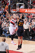 Damian Lillard of the Portland Trail Blazers goes for the dunk against the Utah Jazz during the game on February 3 2015 at Moda Center in Portland...