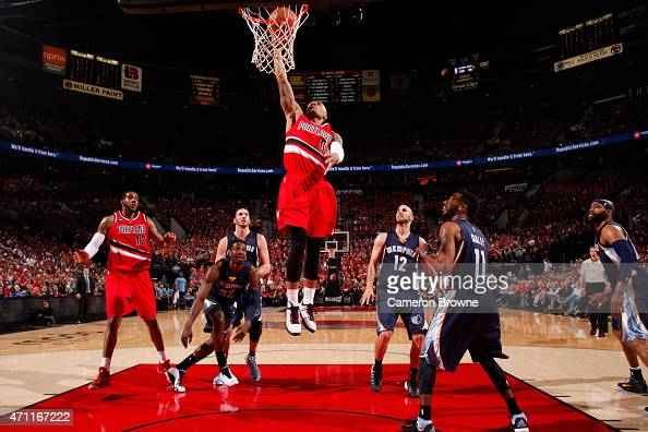 Damian Lillard of the Portland Trail Blazers goes for the dunk against the Memphis Grizzlies during Game Three of the Western Conference...