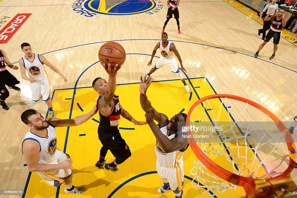 Damian Lillard #0 of the Portland Trail Blazers goes for the lay up during the game against the Golden State Warriors in Game One of the Western Conference Semifinals during the 2016 NBA Playoffs on May 1, 2016 at ORACLE Arena in Oakland, California.