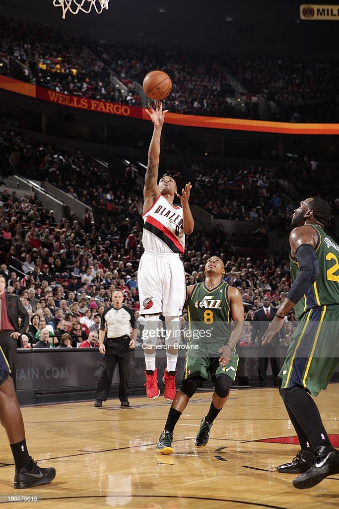 Damian Lillard #0 of the Portland Trail Blazers goes to the basket during the game between the Utah Jazz and the Portland Trail Blazers on February 2, 2013 at the Rose Garden Arena in Portland, Oregon.