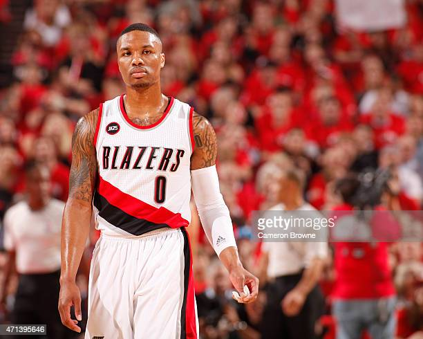 Damian Lillard of the Portland Trail Blazers handles the ball against the Memphis Grizzlies in Game Four of the Western Conference Quarterfinals...