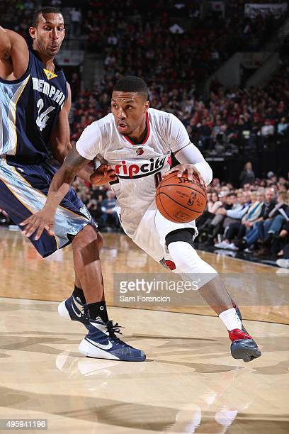 Damian Lillard of the Portland Trail Blazers handles the ball against the Memphis Grizzlies on November 5 2015 at the Moda Center in Portland Oregon...