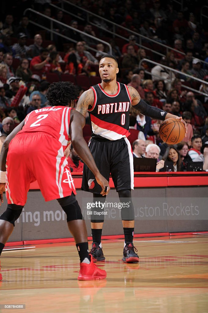 <a gi-track='captionPersonalityLinkClicked' href=/galleries/search?phrase=Damian+Lillard&family=editorial&specificpeople=6598327 ng-click='$event.stopPropagation()'>Damian Lillard</a> #0 of the Portland Trail Blazers handles the ball against the Houston Rockets on February 6, 2016 at the Toyota Center in Houston, Texas.