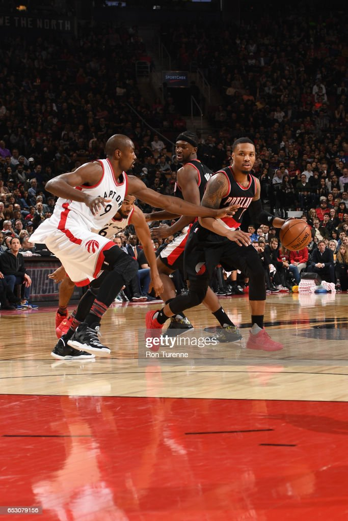 Damian Lillard #0 of the Portland Trail Blazers handles the ball against the Toronto Raptors on February 26, 2017 at the Air Canada Centre in Toronto, Ontario, Canada.