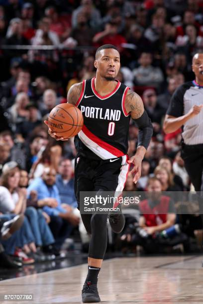 Damian Lillard of the Portland Trail Blazers handles the ball against the Oklahoma City Thunder on November 5 2017 at the Moda Center in Portland...
