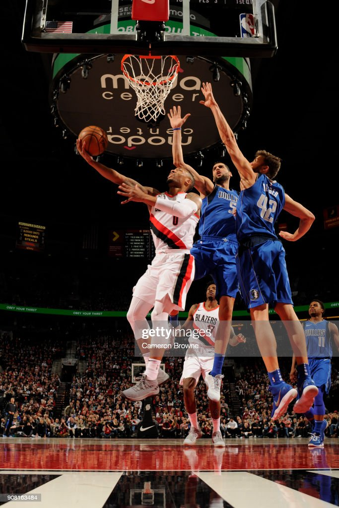 Damian Lillard #0 of the Portland Trail Blazers handles the ball against the Dallas Mavericks on January 20, 2018 at the Moda Center in Portland, Oregon.
