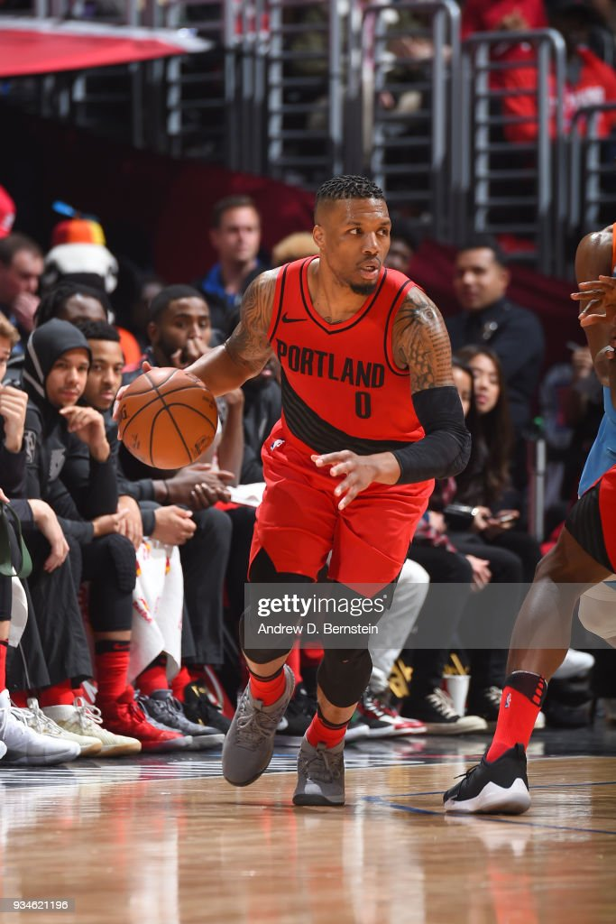 Damian Lillard #0 of the Portland Trail Blazers handles the ball against the LA Clippers on March 18, 2018 at STAPLES Center in Los Angeles, California.