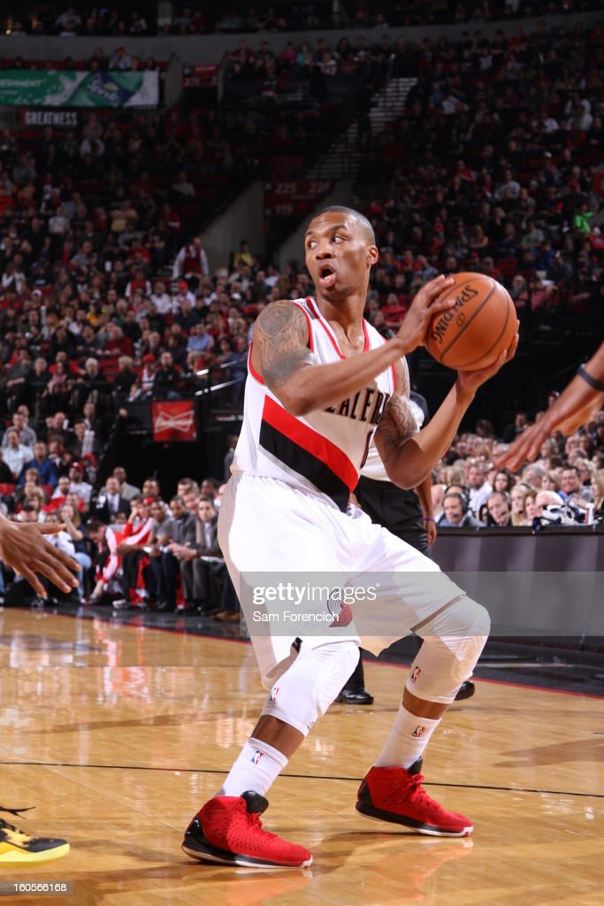Damian Lillard #0 of the Portland Trail Blazers handles the ball during the game between the Utah Jazz and the Portland Trail Blazers on February 2, 2013 at the Rose Garden Arena in Portland, Oregon.