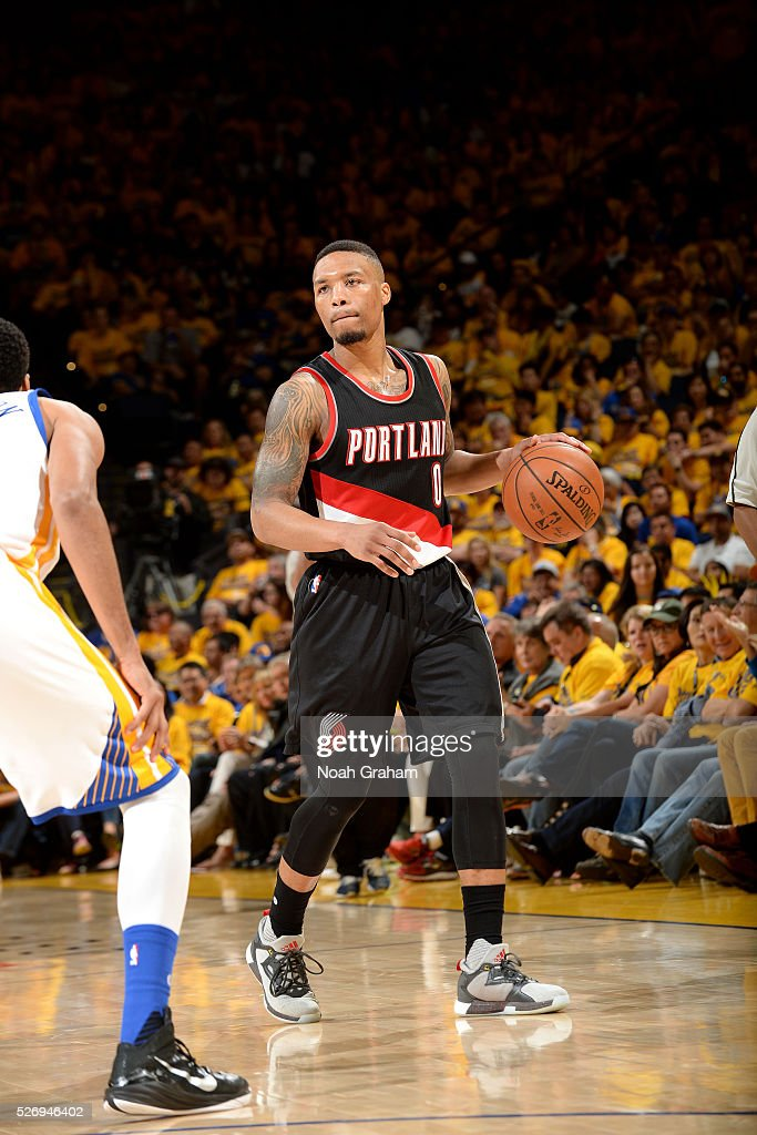 Damian Lillard #0 of the Portland Trail Blazers handles the ball during the game against the Golden State Warriors in Game One of the Western Conference Semifinals during the 2016 NBA Playoffs on May 1, 2016 at ORACLE Arena in Oakland, California.