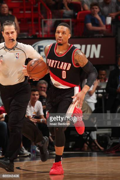Damian Lillard of the Portland Trail Blazers handles the ballagainst the Miami Heat on March 19 2017 at AmericanAirlines Arena in Miami Florida NOTE...