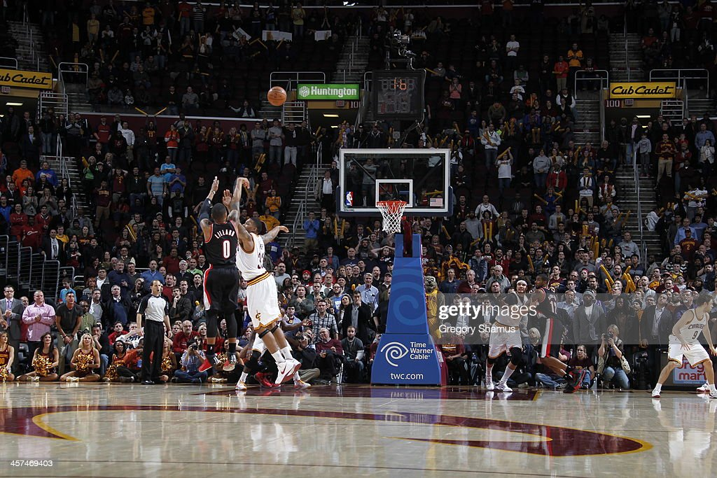 Damian Lillard of the Portland Trail Blazers hits the game winning three pointer against the Cleveland Cavaliers at The Quicken Loans Arena on...