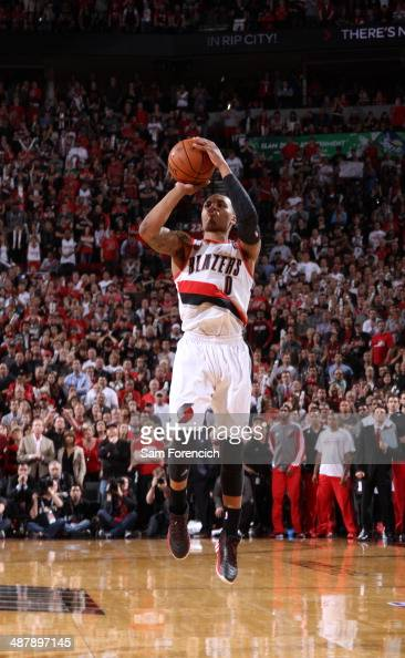 Damian Lillard of the Portland Trail Blazers hits the game winning shot against the Houston Rockets in Game Six of the Western Conference...