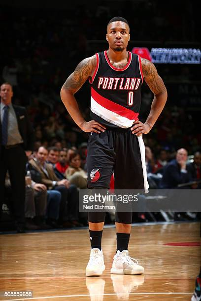Damian Lillard of the Portland Trail Blazers is seen during the game against the Washington Wizards on January 18 2016 at Verizon Center in...