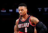 Damian Lillard of the Portland Trail Blazers is seen during the game against the New York Knicks on March 1 2016 at Madison Square Garden in New York...