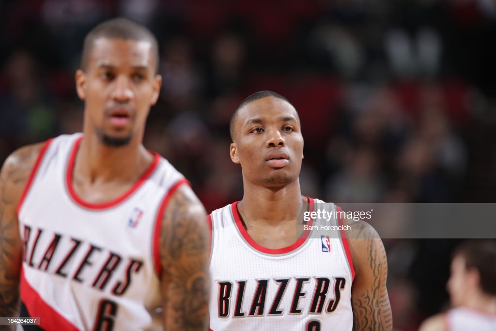 <a gi-track='captionPersonalityLinkClicked' href=/galleries/search?phrase=Damian+Lillard&family=editorial&specificpeople=6598327 ng-click='$event.stopPropagation()'>Damian Lillard</a> #0 of the Portland Trail Blazers looks on during the game against the Charlotte Bobcats on March 4, 2013 at the Rose Garden Arena in Portland, Oregon.
