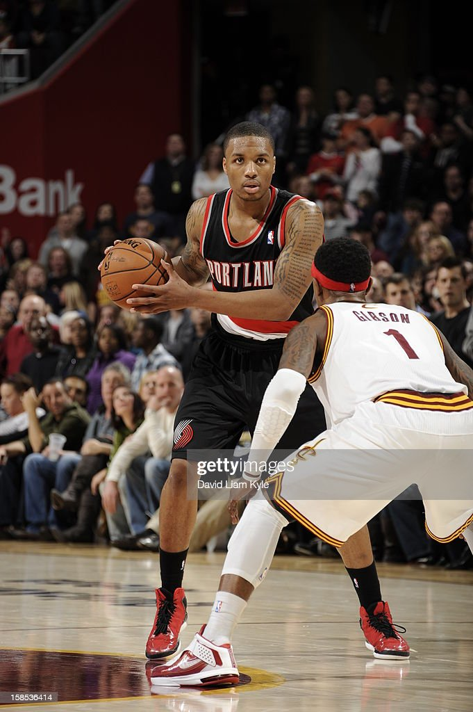 <a gi-track='captionPersonalityLinkClicked' href=/galleries/search?phrase=Damian+Lillard&family=editorial&specificpeople=6598327 ng-click='$event.stopPropagation()'>Damian Lillard</a> #0 of the Portland Trail Blazers looks to drive to the basket against the Cleveland Cavaliers at The Quicken Loans Arena on December 1, 2012 in Cleveland, Ohio.