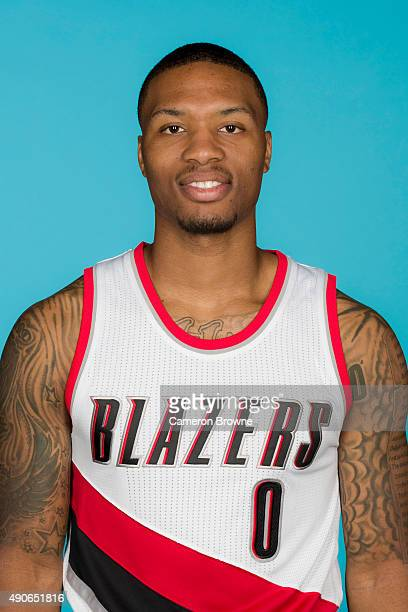 Damian Lillard of the Portland Trail Blazers poses for a head shot during media day on September 28 2015 at the MODA Center Arena in Portland Oregon...